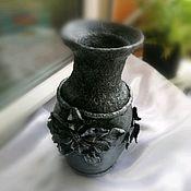 Вазы ручной работы. Ярмарка Мастеров - ручная работа Ваза из папье-маше под черненое серебро.. Handmade.