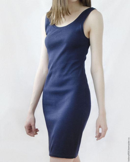 Платья ручной работы. Ярмарка Мастеров - ручная работа. Купить Платье летнее из трикотажа в рубчик синего цвета. Handmade.