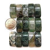 Материалы для творчества ручной работы. Ярмарка Мастеров - ручная работа Яшма 14 камней набор зеленый бусины с двумя отверстиями. Handmade.