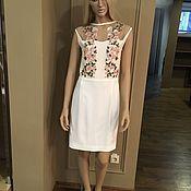 Одежда handmade. Livemaster - original item White cocktail dress of silk Cady with embroidery. Handmade.