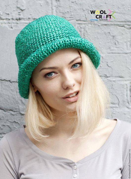 Шляпы ручной работы. Ярмарка Мастеров - ручная работа. Купить Изумрудная летняя шляпа. Handmade. Морская волна, однотонный, шляпа