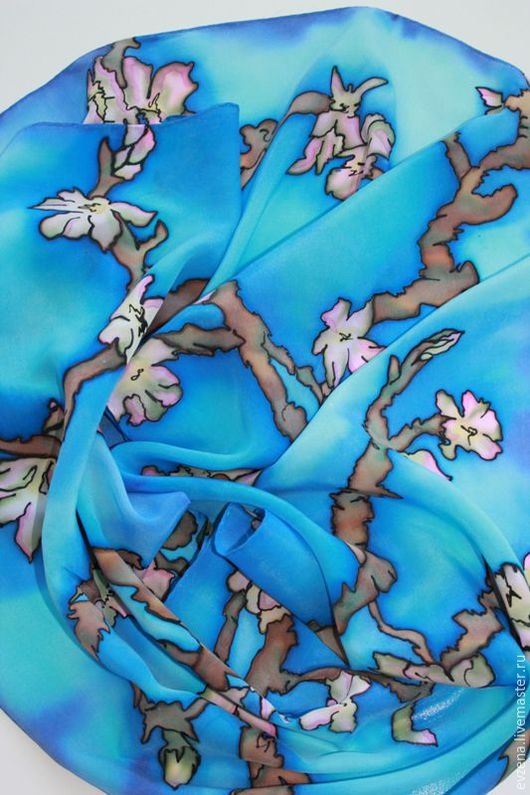 Шарфы и шарфики ручной работы. Ярмарка Мастеров - ручная работа. Купить Цветущие ветки миндаля.По мотива картина Ван Гога. Handmade.