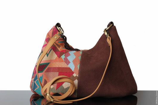 """Женские сумки ручной работы. Ярмарка Мастеров - ручная работа. Купить """"Ethno"""" сумка на плечо, яркая сумка, хобо, гобелен, замша. Handmade."""