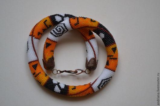 """Колье, бусы ручной работы. Ярмарка Мастеров - ручная работа. Купить Вязаный жгут """"Африка"""". Handmade. Разноцветный, африканские мотивы"""