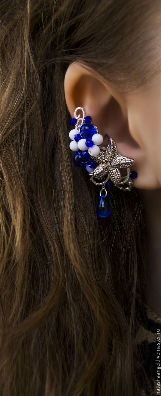 """Каффы ручной работы. Ярмарка Мастеров - ручная работа. Купить Кафф """"Морской"""" (белый и синий цвет, синие серьги, морские украшения). Handmade."""