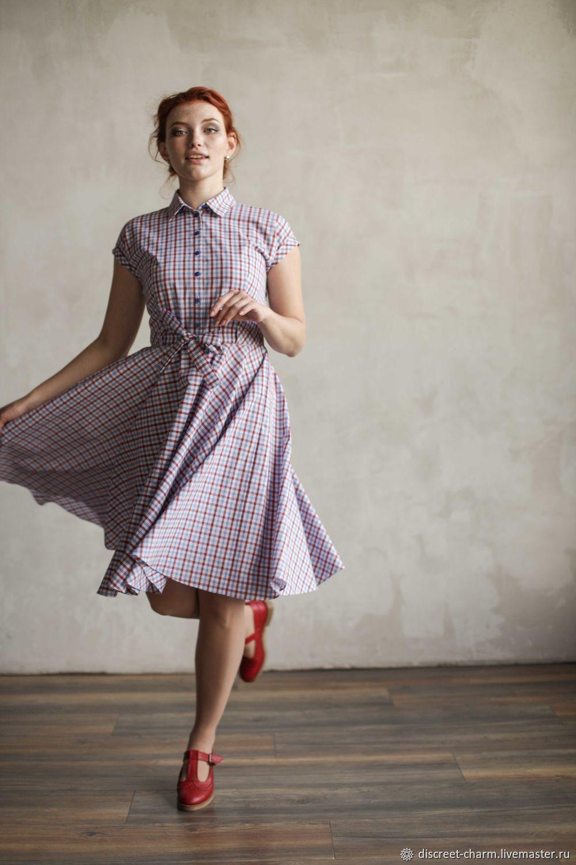 Платья ручной работы. Ярмарка Мастеров - ручная работа. Купить Летнее платье в клетку, на пуговицах, с юбкой-солнце и воротником. Handmade.