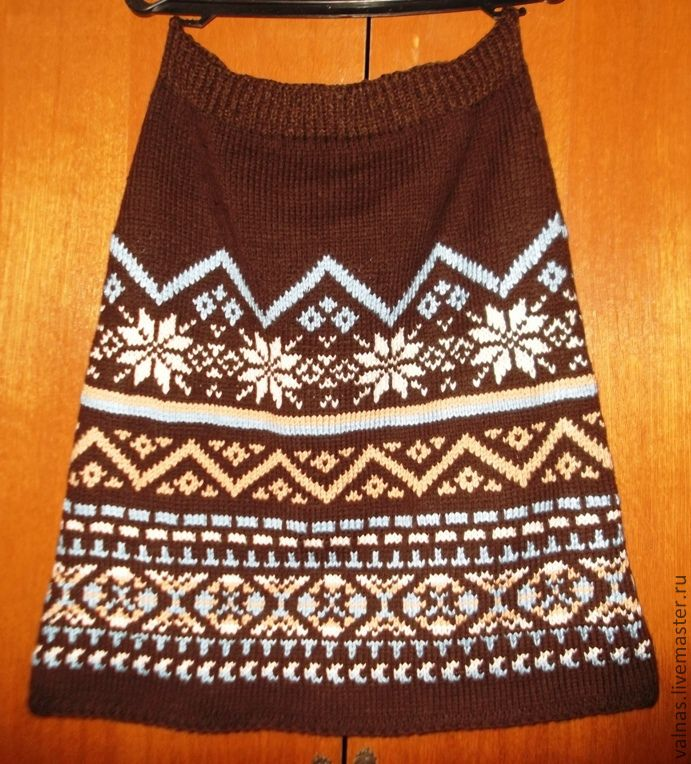 Winter skirt'Jacquard mix in chocolate'/the Author's work, Skirts, Abakan,  Фото №1