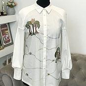 Одежда handmade. Livemaster - original item Stylish shirt with hand embroidery