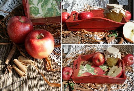 """Кухня ручной работы. Ярмарка Мастеров - ручная работа. Купить поднос """" Райские яблоки"""". Handmade. Ярко-красный"""
