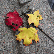 Украшения handmade. Livemaster - original item brooches: Maple leaf leather. Handmade.