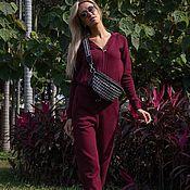 Одежда handmade. Livemaster - original item Cashmere suit zipper hooded Bordeaux. Handmade.