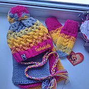 Работы для детей, ручной работы. Ярмарка Мастеров - ручная работа Комплект детский, шапка, шарф и варежки. Handmade.