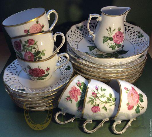Винтажная посуда. Ярмарка Мастеров - ручная работа. Купить Чайный набор сервиз Schumann Arzberg Розы ажурный фарфор. Handmade.