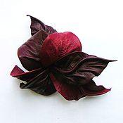 """Украшения ручной работы. Ярмарка Мастеров - ручная работа Брошь цветок из кожи Орхидея """"Красное Вино"""" бордовый винный марсала. Handmade."""