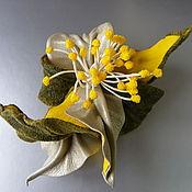 Аксессуары handmade. Livemaster - original item Brooch flower leather Orchid