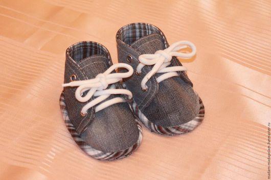 Детская обувь ручной работы. Ярмарка Мастеров - ручная работа. Купить Пинетки-кеды. Handmade. Пинетки для мальчика, пинетки для малыша
