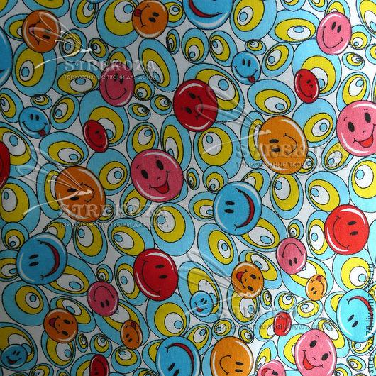 """Шитье ручной работы. Ярмарка Мастеров - ручная работа. Купить Футер """"Смайлики"""" 2-х нитка с начесом. Handmade. Разноцветный"""