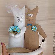 Свадебный салон ручной работы. Ярмарка Мастеров - ручная работа Свадебные коты-неразлучники на бирюзовую свадьбу. Handmade.