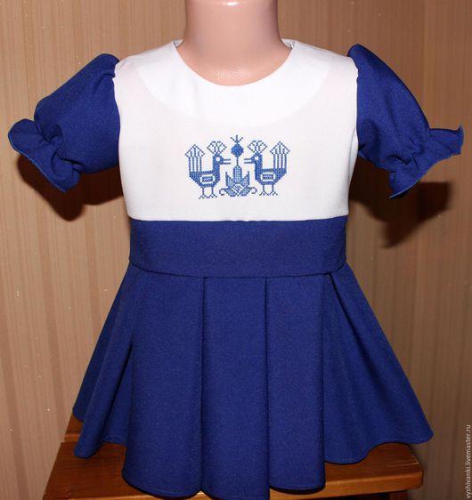"""Одежда для девочек, ручной работы. Ярмарка Мастеров - ручная работа. Купить Детское платье ручной вышивки """"Морские птички"""". Handmade."""