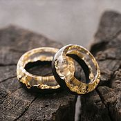 Украшения handmade. Livemaster - original item Wooden wedding / engagement rings Gold. Handmade.