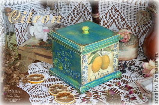 """Кухня ручной работы. Ярмарка Мастеров - ручная работа. Купить Короб """"Citron"""". Handmade. Синий, коробка, короб для специй"""
