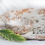 """Посуда ручной работы. Ярмарка Мастеров - ручная работа """"Мраморный"""" комплект: блюдо и розетка. Handmade."""