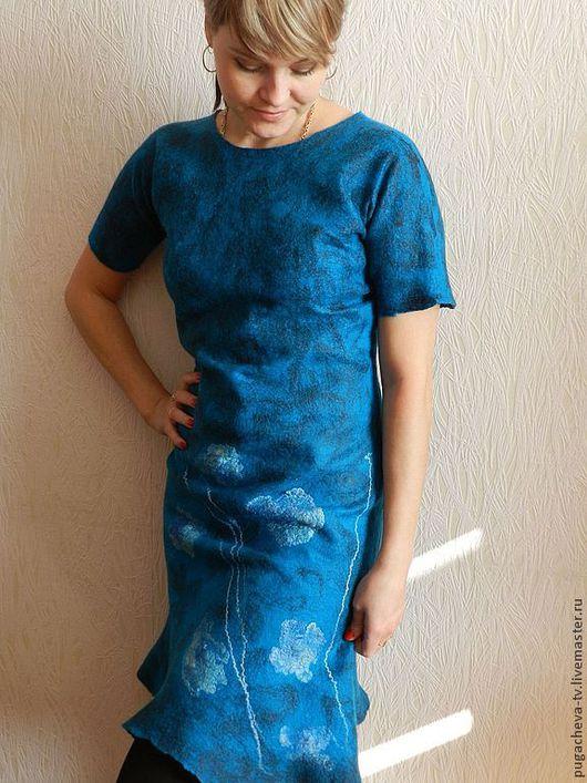 Платья ручной работы. Ярмарка Мастеров - ручная работа. Купить Валяное платье по МК Ольги Прайс 1. Handmade. Голубой