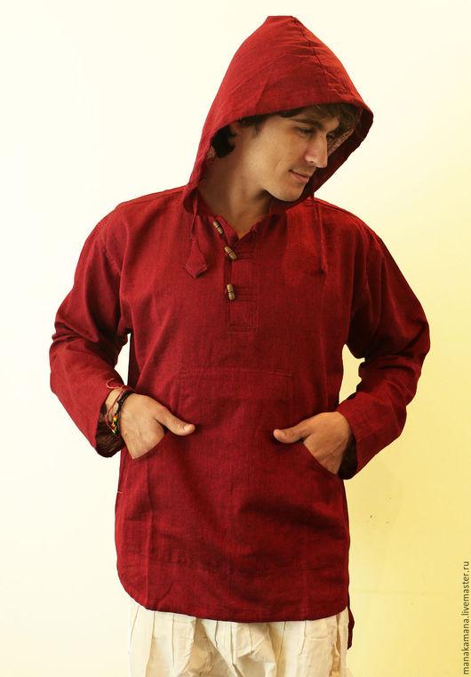 Для мужчин, ручной работы. Ярмарка Мастеров - ручная работа. Купить Гранатовая Рубашка с капюшоном. Handmade. Бордовый, хиппи стиль