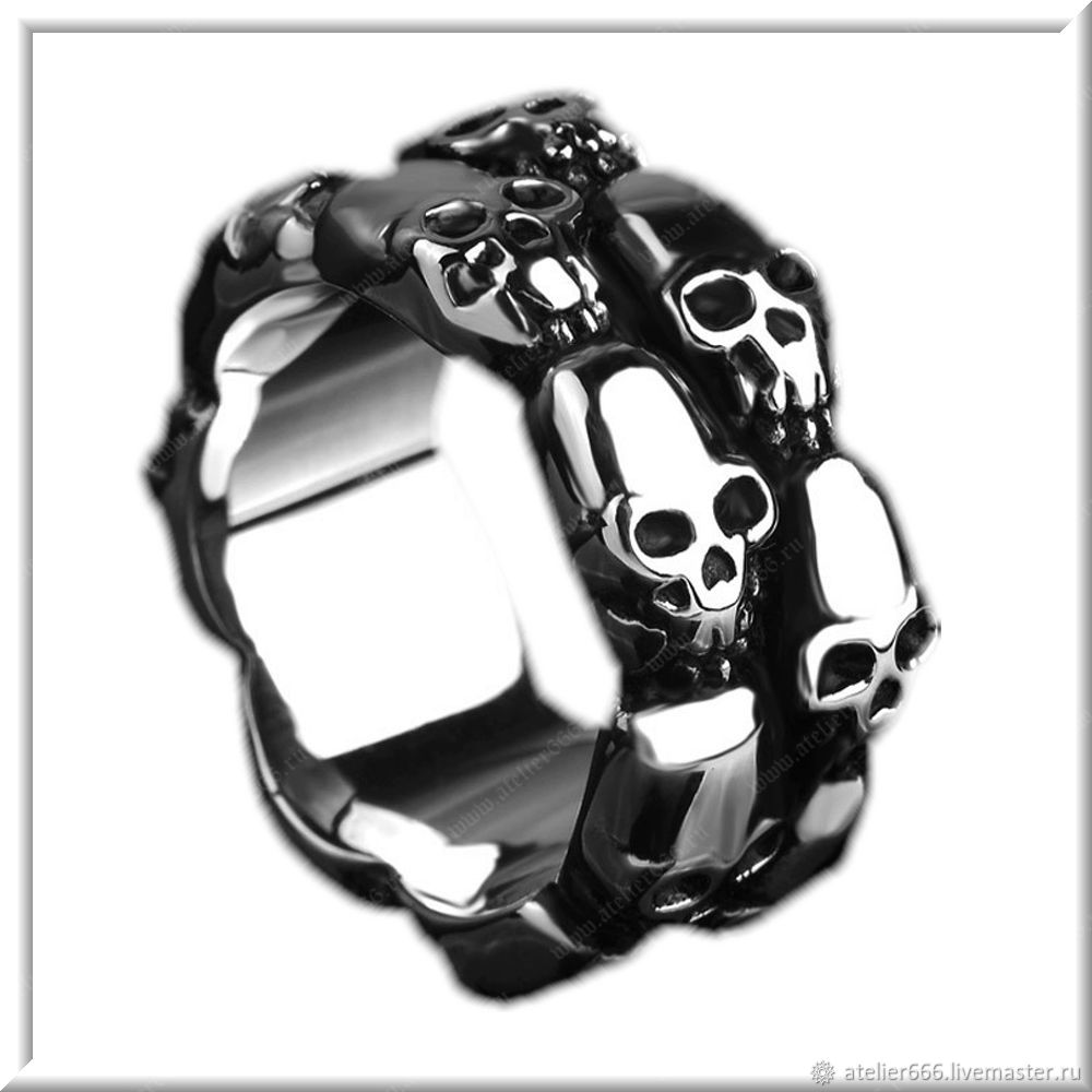 Ring with Skulls men's No. 4 steel, Ring, Moscow,  Фото №1