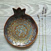 Посуда ручной работы. Ярмарка Мастеров - ручная работа Парные голубые керамические тарелки-гранаты. Handmade.