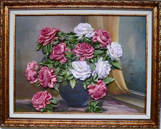 Картины цветов ручной работы. Ярмарка Мастеров - ручная работа. Купить Розы.. Handmade. Комбинированный, картина в подарок, рама