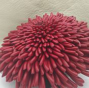 Украшения handmade. Livemaster - original item Brooch Aster red leather. Handmade.