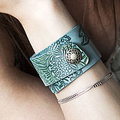 Украшения handmade. Livemaster - original item Leather bracelet Mint. Handmade.