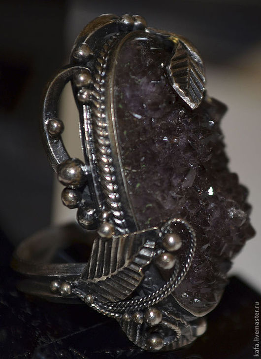 Кольца ручной работы. Ярмарка Мастеров - ручная работа. Купить кольцо с аметистовой щеткой, серебро, ручная работа. Handmade. Сиреневый