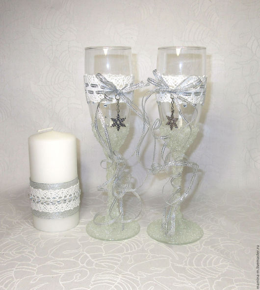 Свадебные бокалы `Ледяная сказка`. Свадебные аксессуары ручной работы. МамиНа мастерская. Ярмарка мастеров.