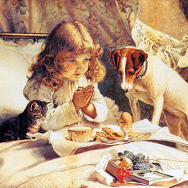 Картины и панно ручной работы. Ярмарка Мастеров - ручная работа Бартон Чарльз. Молитва перед завтраком. Handmade.