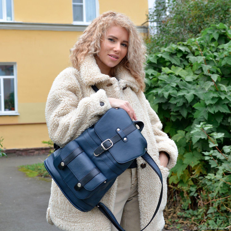 Backpack female leather blue Virgi Mod R11-161, Backpacks, St. Petersburg,  Фото №1