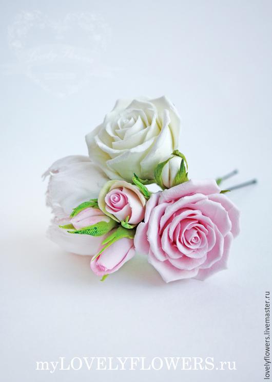 Свадебные украшения ручной работы. Ярмарка Мастеров - ручная работа. Купить Пионы и розы для прически из полимерной глины. Handmade. Decoclay