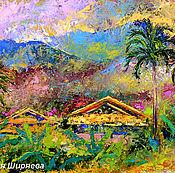 """Картины и панно ручной работы. Ярмарка Мастеров - ручная работа """"Сияющий Таиланд"""" - картина маслом с горами. Handmade."""
