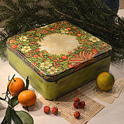 """Для дома и интерьера ручной работы. Ярмарка Мастеров - ручная работа Короб"""" Рождественный венок"""". Handmade."""