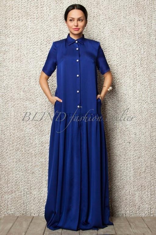 Платья ручной работы. Ярмарка Мастеров - ручная работа. Купить Платье из вискозного шелка 00038. Handmade. Синий, вискозный шелк