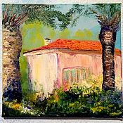 Картины и панно handmade. Livemaster - original item Oil painting. House under palm trees Landscape . Spain.. Handmade.