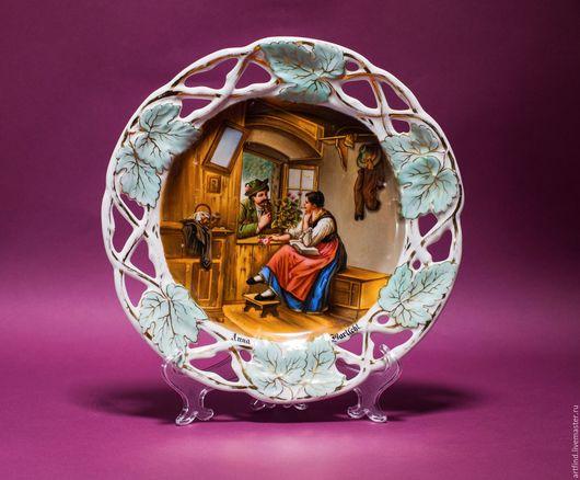 """Винтажные предметы интерьера. Ярмарка Мастеров - ручная работа. Купить Тарелка """"Тайное свидание"""",1940-е г.г.,Германия. Handmade."""