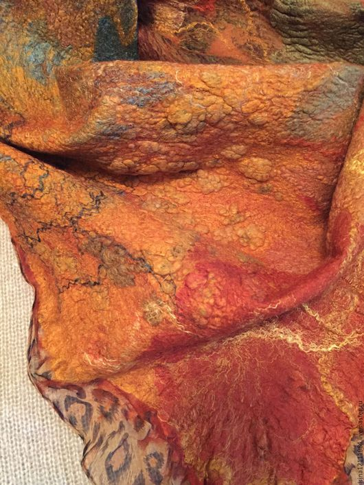 """Шарфы и шарфики ручной работы. Ярмарка Мастеров - ручная работа. Купить Бактус """"Рыжая осень"""". Handmade. Рыжий, шарф женский"""