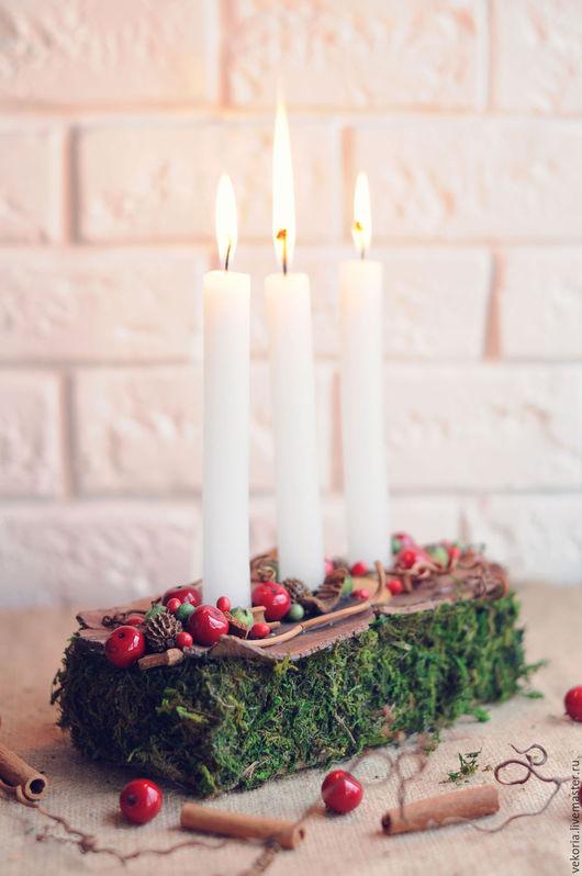"""Интерьерные композиции ручной работы. Ярмарка Мастеров - ручная работа. Купить Композиция со свечами """"Ягоды"""". Handmade. Зеленый, аллюминий"""