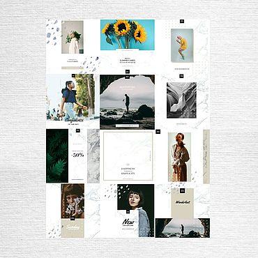 Дизайн и реклама ручной работы. Ярмарка Мастеров - ручная работа Шаблоны для инстаграм 27 + пресеты. Handmade.