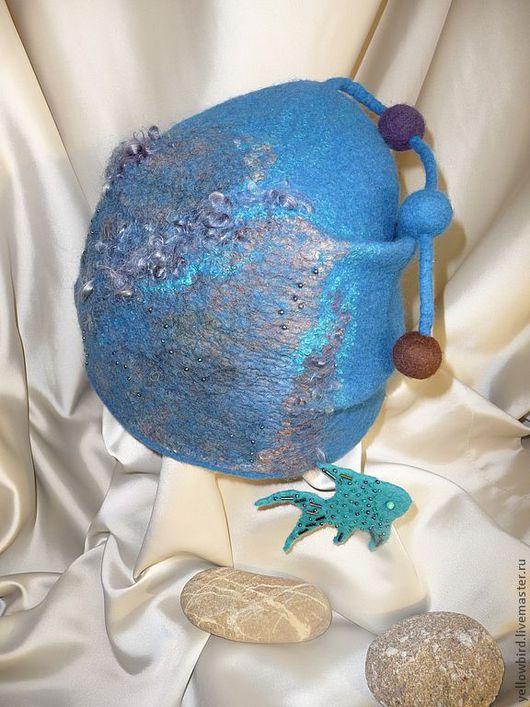 """Шапки ручной работы. Ярмарка Мастеров - ручная работа. Купить Шапочка валяная """"Глубина"""". Handmade. Морская волна, шапка из войлока"""