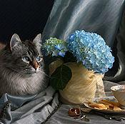Фотокартины ручной работы. Ярмарка Мастеров - ручная работа Кот с гортензией. Handmade.