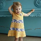 Работы для детей, ручной работы. Ярмарка Мастеров - ручная работа Платье для девочки вязаное крючком Желтые Хризантемы. Handmade.
