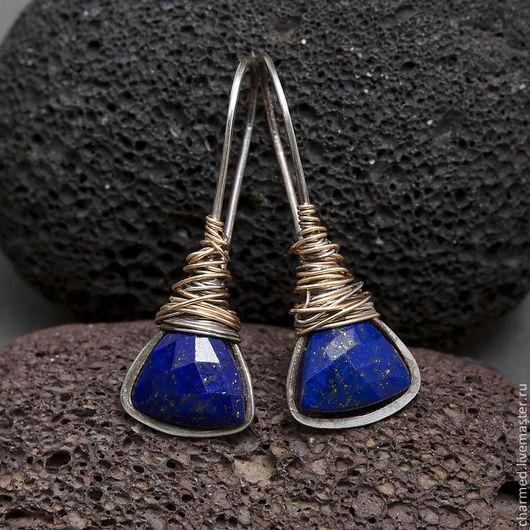 Серьги ручной работы. Ярмарка Мастеров - ручная работа. Купить Серьги с темно-синим лазуритом из серебра и голдфилда. Handmade.